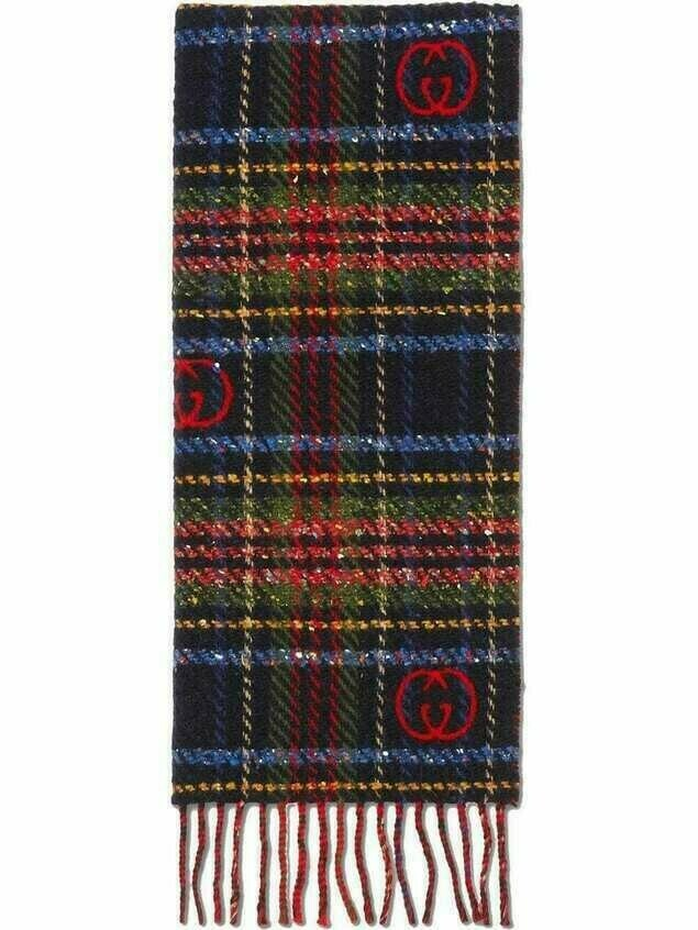 Gucci check jacquard scarf - Red