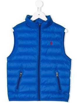 Ralph Lauren Kids logo embroidered zip gilet - Blue