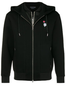 Alexander McQueen floral skull embroidered hoodie - Black