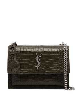 Saint Laurent medium Sunset monogram croc-effect shoulder bag - Green