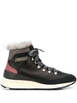 Philippe Model Paris faux-fur trim lace-up boots - Black