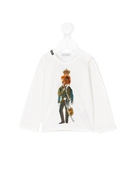 Dolce&Gabbana Kids lion print top - White