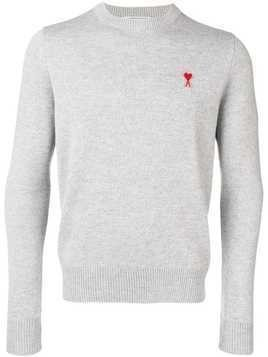 Ami Alexandre Mattiussi crew neck sweater with patch - Grey