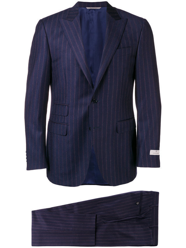 Canali striped two-piece suit - Blue