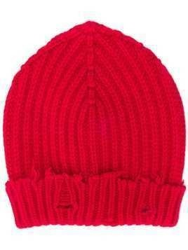 Unravel Project distressed ribbed-knit beanie - Red