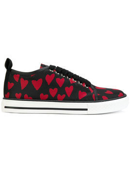 Red Valentino - lace up heart sneakers - Damen - Cotton/Leather/rubber - 40 - Black