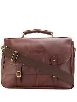 Barbour foldover buckled strap briefcase - Brown