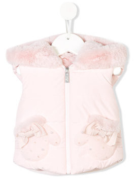 Lapin House sleeveless bow vest - Pink & Purple