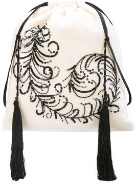 Attico peacock feather sack bag - White