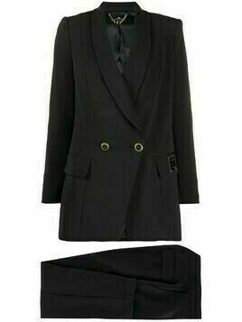Elisabetta Franchi double breasted shawl lapel suit - Black