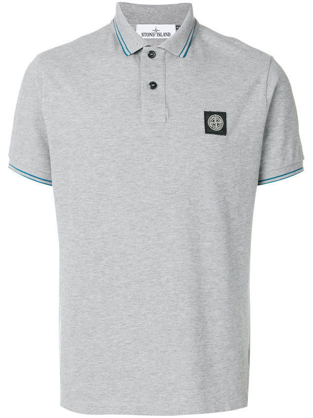 Stone Island striped trim polo shirt - Grey