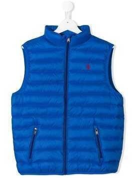 Ralph Lauren Kids TEEN logo embroidered padded gilet - Blue