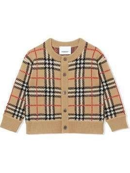 Burberry Kids checked cardigan - Neutrals