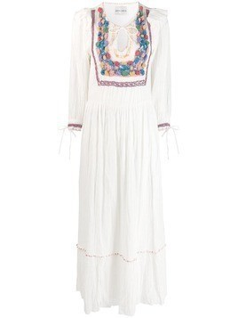 Antik Batik crochet panel maxi dress - White