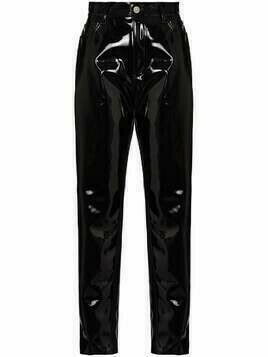 The Attico Dua vinyl slim-fit trousers - Black