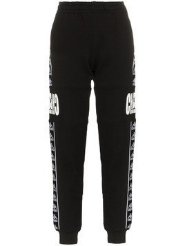 Charm's x Kappa logo printed and side panel cotton track pants - Black