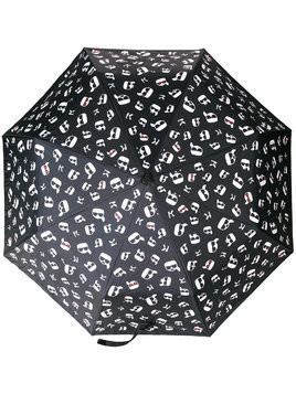 Karl Lagerfeld Ikonik Print Umbrella - Black