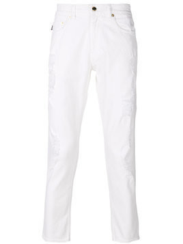 Love Moschino - distressed cropped jeans - Herren - Cotton - 31 - White