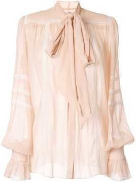 Ingie Paris sheer pussybow blouse - PINK