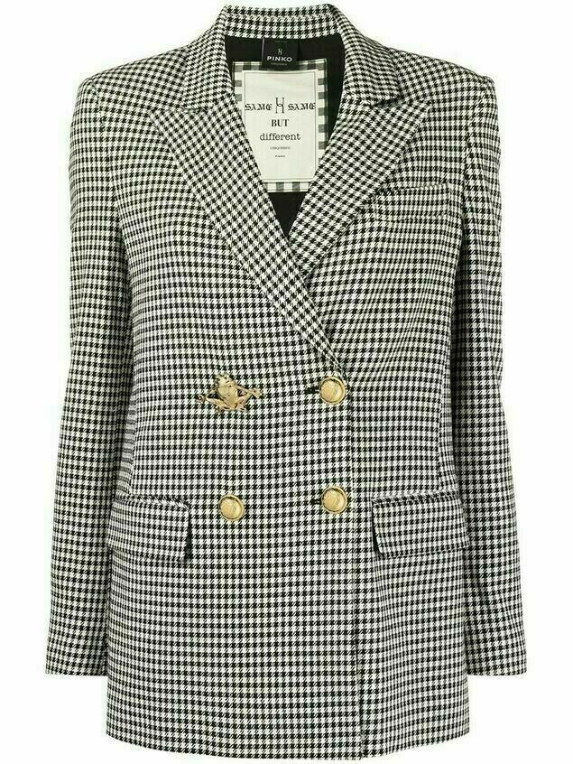 Pinko frog gingham blazer jacket - Black