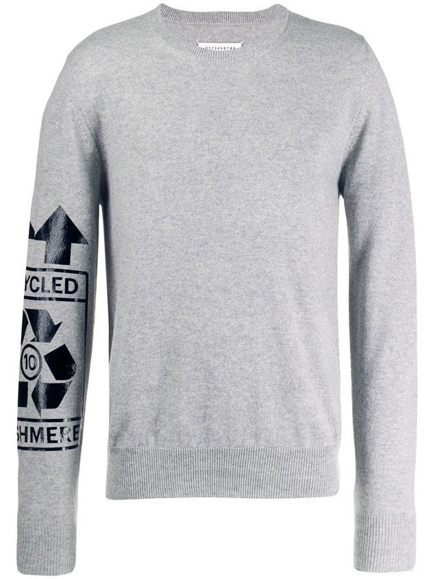 Maison Margiela 'recycled' print jumper - Grey