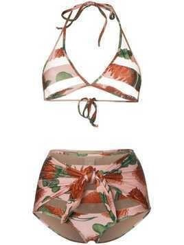 Adriana Degreas cutout triangle top high waist bikini - Pink