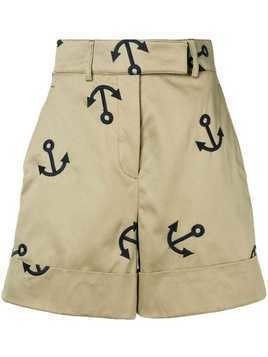 Thom Browne Anchor Embroidery Short - Neutrals