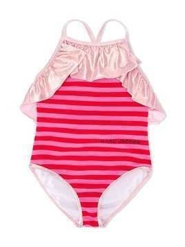 The Marc Jacobs Kids frill trimmed striped swimsuit - PINK