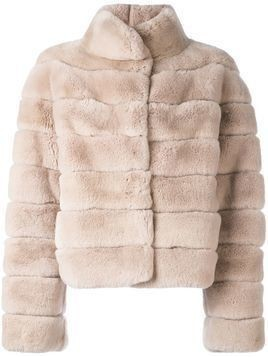 Liska quilted short fur coat - Nude & Neutrals