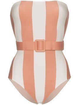 Adriana Degreas Porto belted bandeau swimsuit - Pink