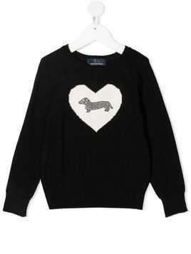 Harmont & Blaine Junior rhinestone-embellished heart-print jumper - Black