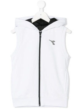 Diadora Junior hooded zip gilet - White