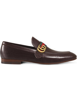 Gucci - Brown GG Web Leather loafers - Herren - Leather/rubber - 6