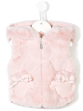 Lapin House hooded faux fur gilet - Pink & Purple