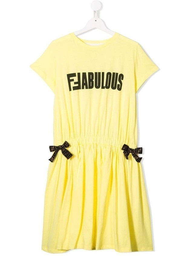 Fendi Kids TEEN contrasting logo print dress - Yellow