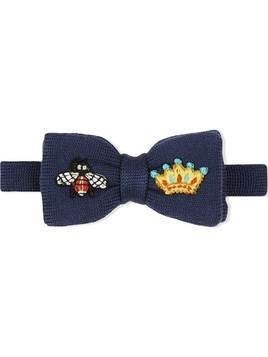 Gucci Kids embroidered bow tie - Blue