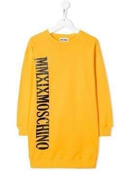 Moschino Kids logo print sweatshirt dress - Yellow