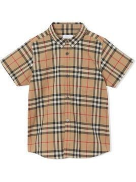 Burberry Kids check print shortsleeved shirt - Brown