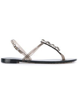 Casadei embellished t-strap jelly sandals - Grey
