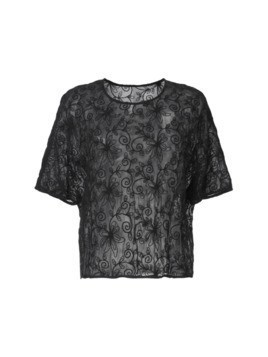 Zambesi sheer embroidered T-shirt - Black