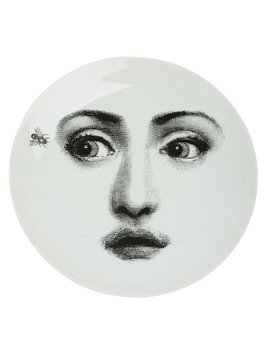 Fornasetti portrait and fly print plate - Black
