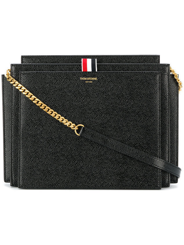 Thom Browne SQUARE LUCIDO LEATHER ACCORDION BAG - Black