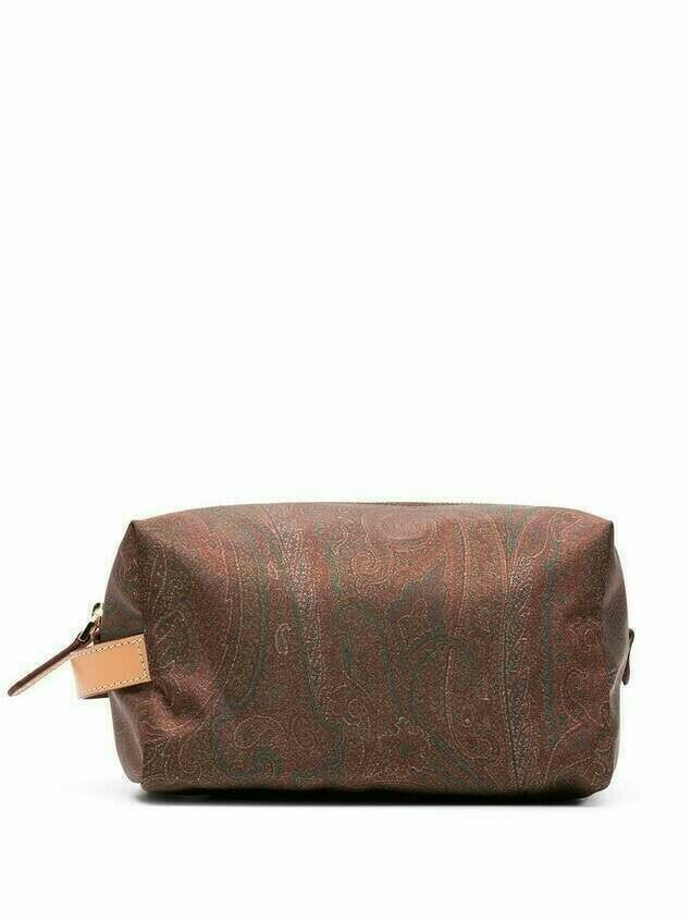 Etro paisley print clutch bag - Brown