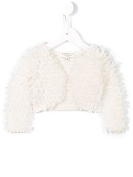 Cashmirino shearling effect cropped jacket - White