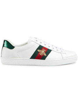 Gucci - Ace embroidered low-top sneaker - Herren - Leather/rubber/Watersnake Skin - 7 - White