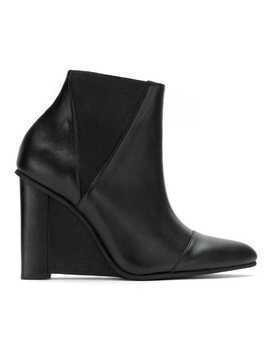 Studio Chofakian leather wedge boots - Black