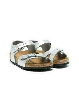 Birkenstock Kids Rio metallic-effect sandals - Silver