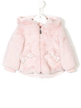 Lapin House faux fur hooded jacket - Pink & Purple