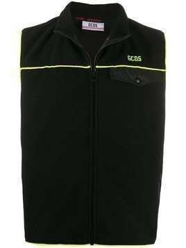 Gcds logo zipped gilet - Black
