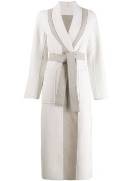 Lorena Antoniazzi two tone belted coat - White